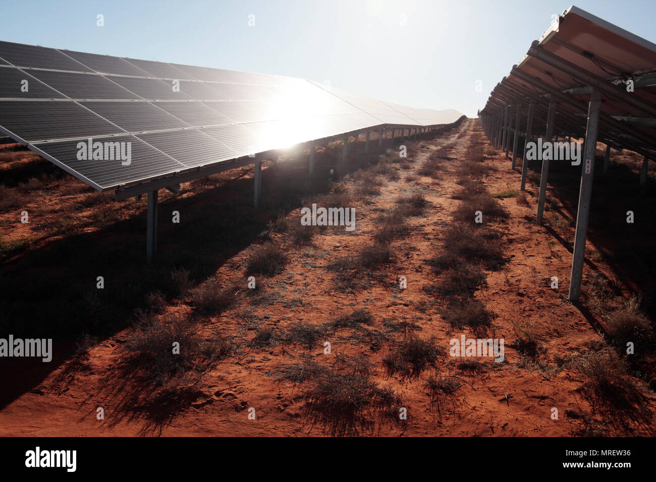 10 MW solar power plant, Vredendal, Western Cape, South Africa. - Stock Image