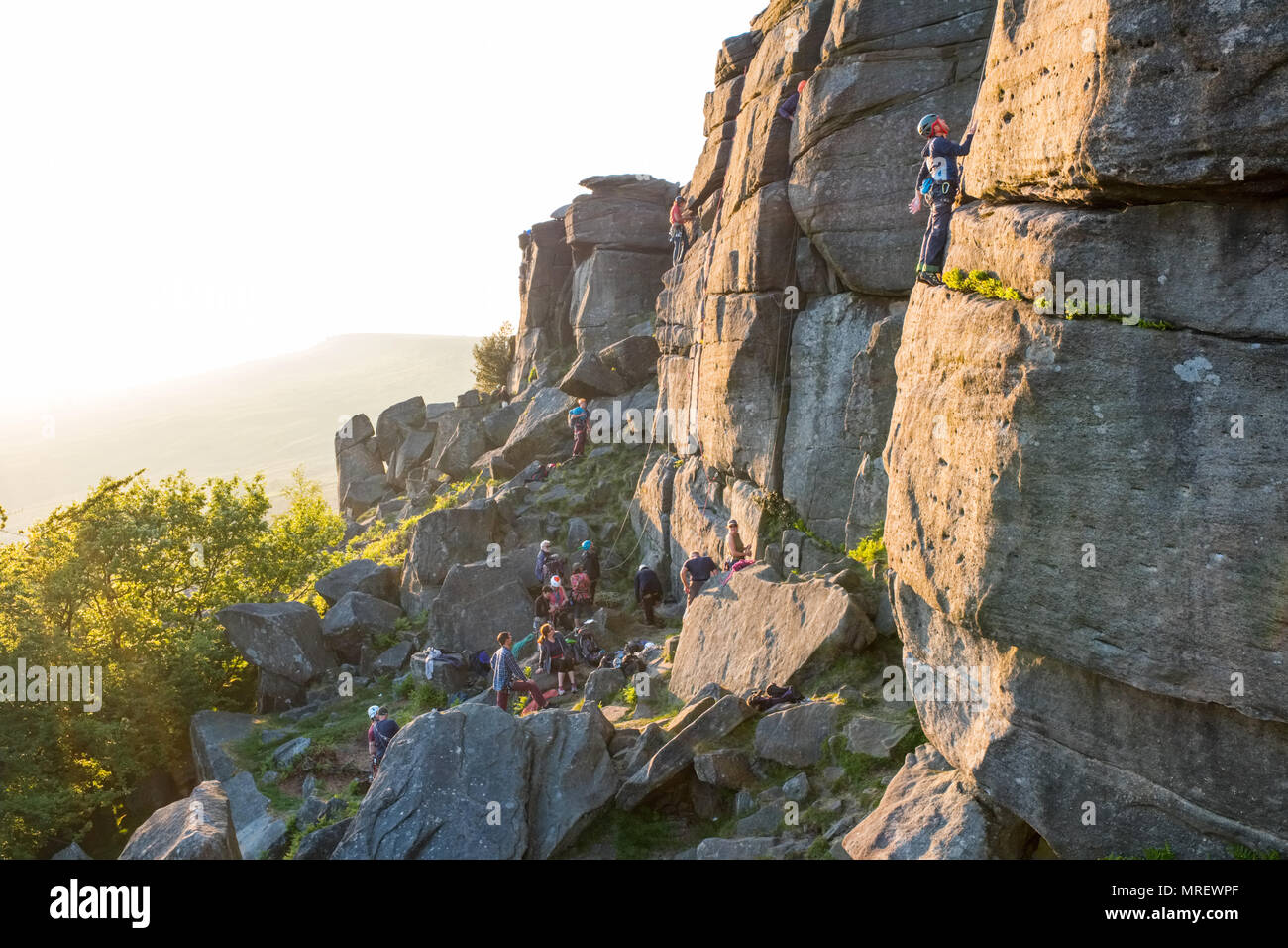 Rock climbing at the Paradise Wall area of Stanage in the Peak District National Park, UK - Stock Image