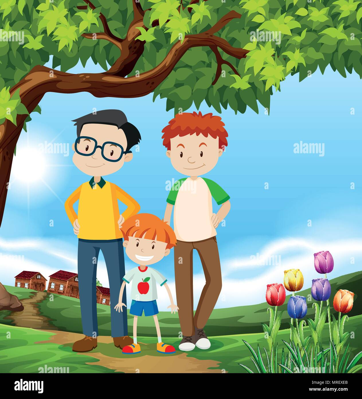 A Happy LGBT Adoption Family illustration - Stock Vector