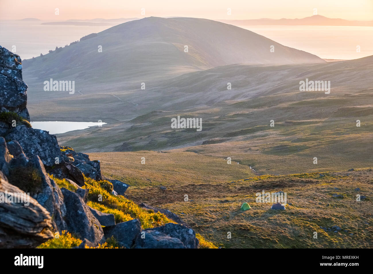 tent pitched on a Welsh mountain during a wild camping trip in the Rhinog hills - Stock Image