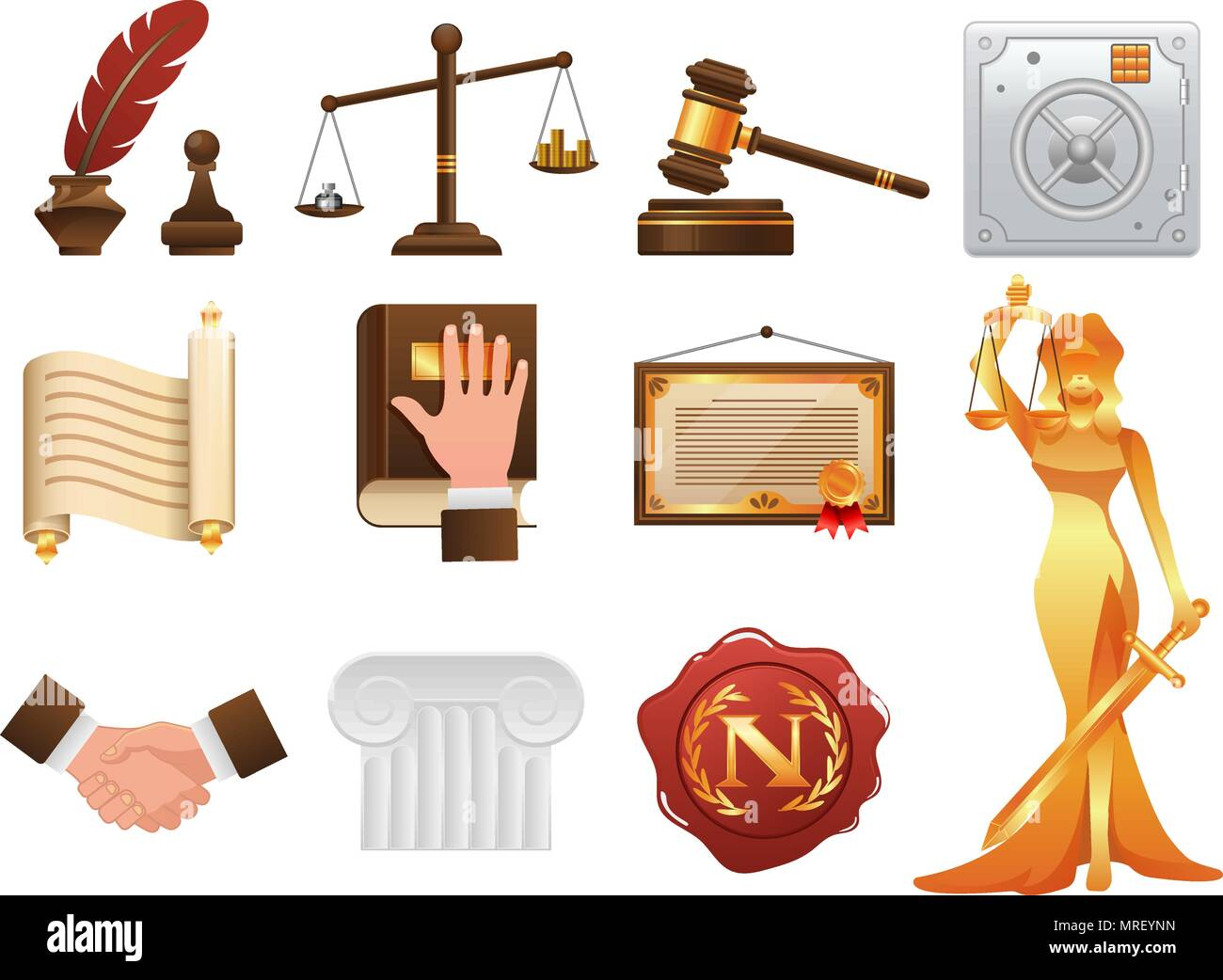 Law justice and order realistic icons set - Stock Vector