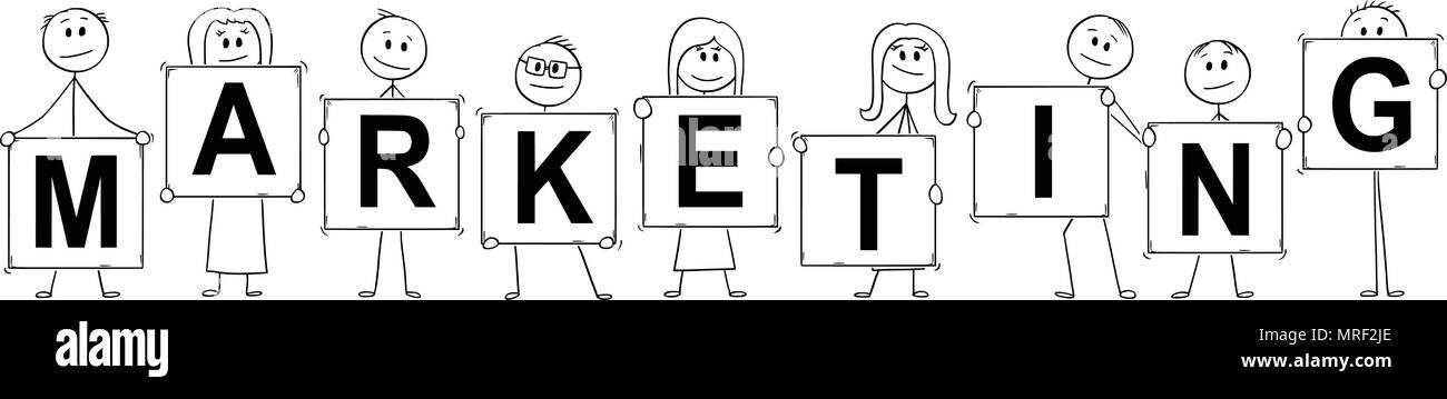 Cartoon of Businessmen and Businesswomen Holding Signs With Marketing Text - Stock Image