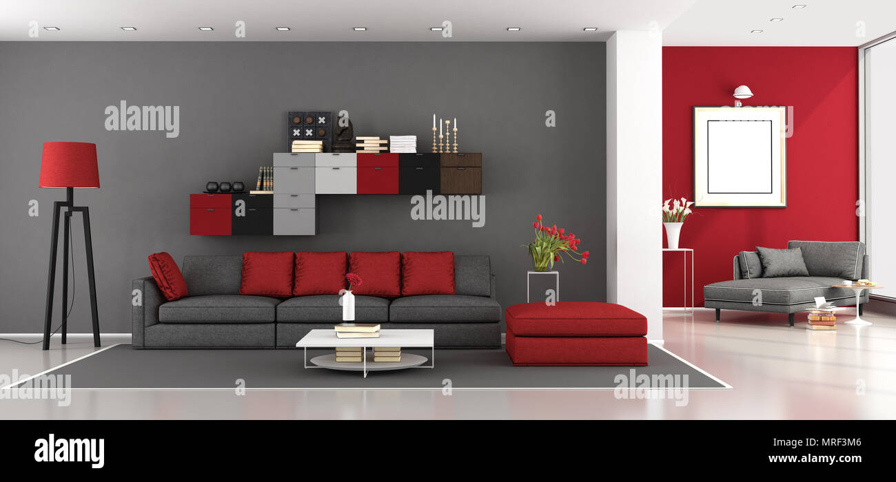 Red and gray modern living room with sofa and chaise lounge ...