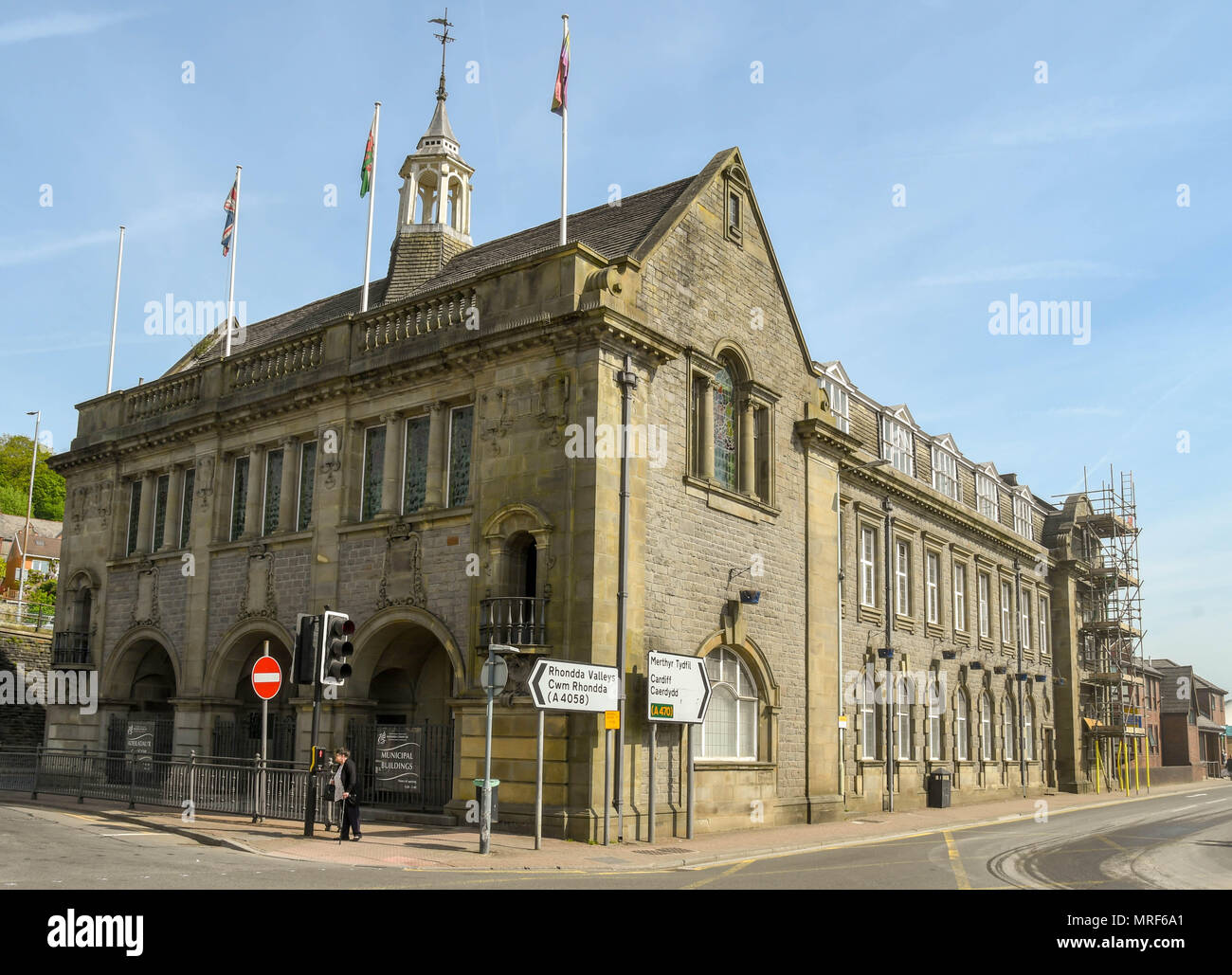 One of the municipal buildings in Pontypridd town centre. This building was once the adminstrative offices of Pontypridd Town Council - Stock Image