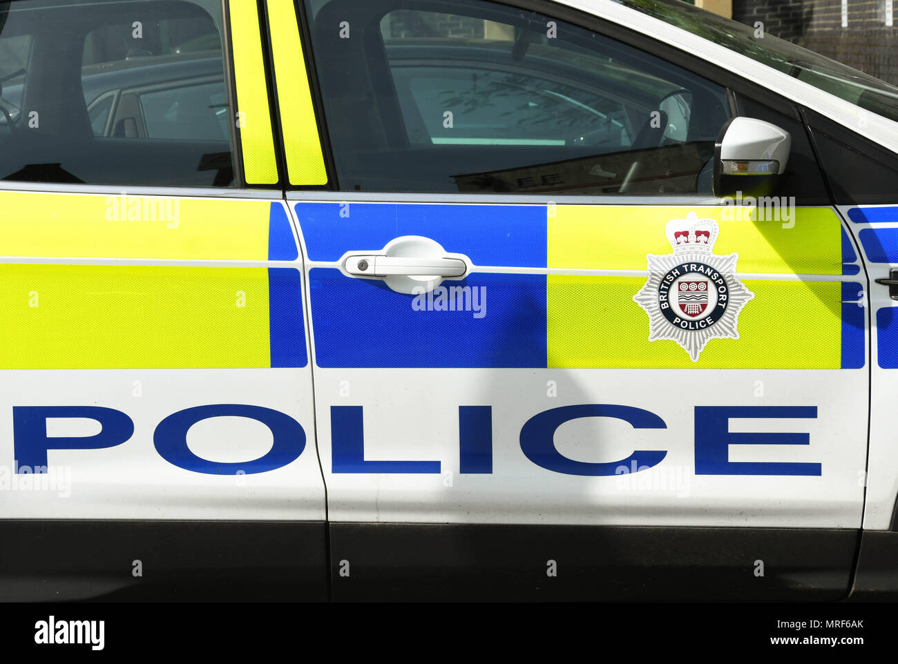 British Transport Police emblem on the side of a patrol car Stock Photo