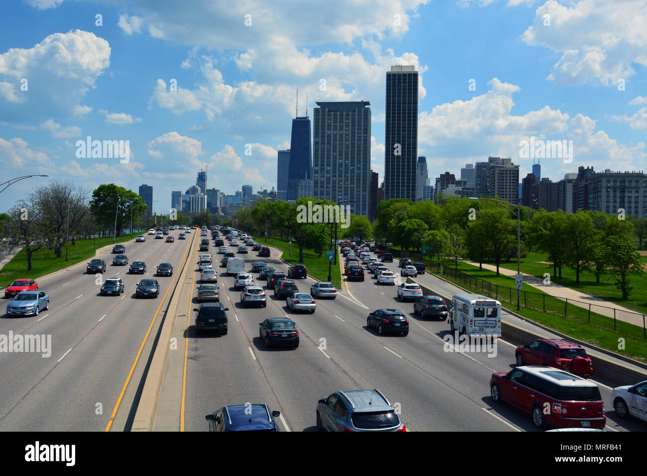 Cars heading into downtown Chicago are stuck in traffic on Lake Shore Drive over the Memorial Day weekend. - Stock Image