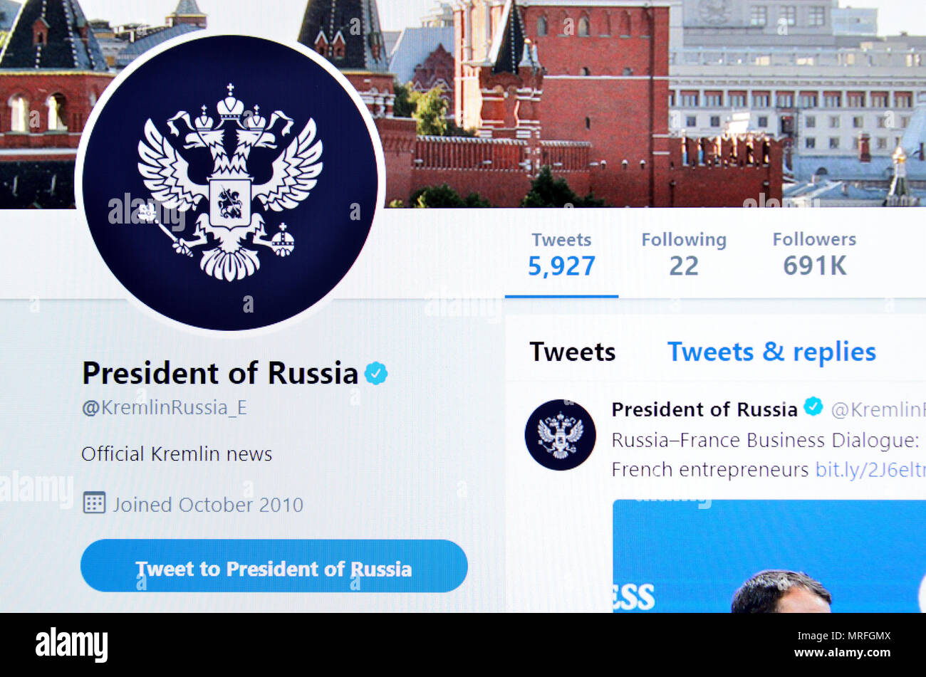 President of Russia official Twitter page (2018) - Stock Image