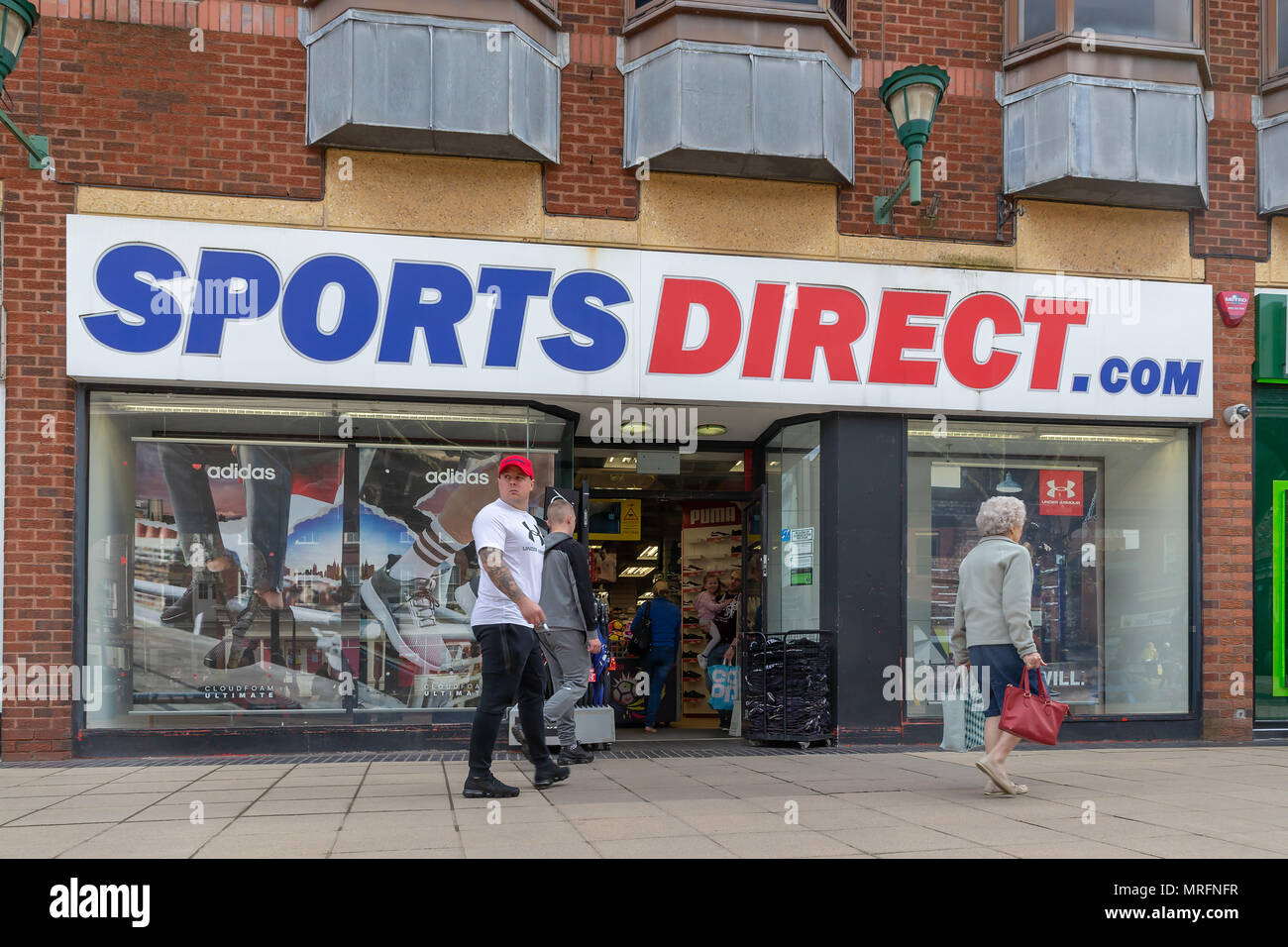 12 May 2018 - Sports Direct shop in the Old Fishmarket area of Warrington Town Centre, next to The Golden Square, Cheshire, England, UK - Stock Image
