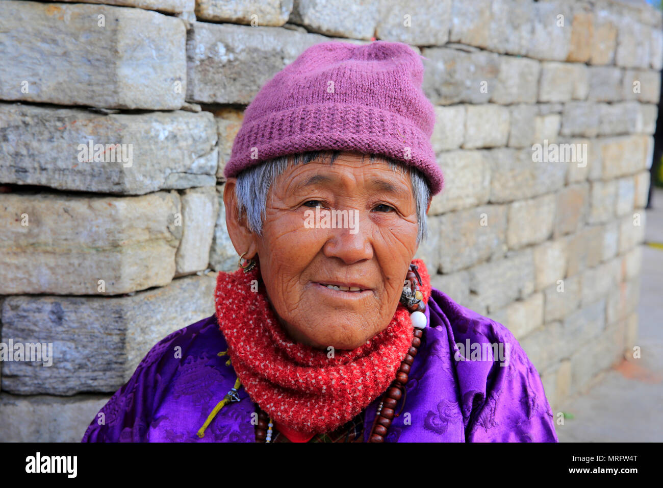 Portrait of a Bhutanese old woman. Thimphu, Bhutan - Stock Image