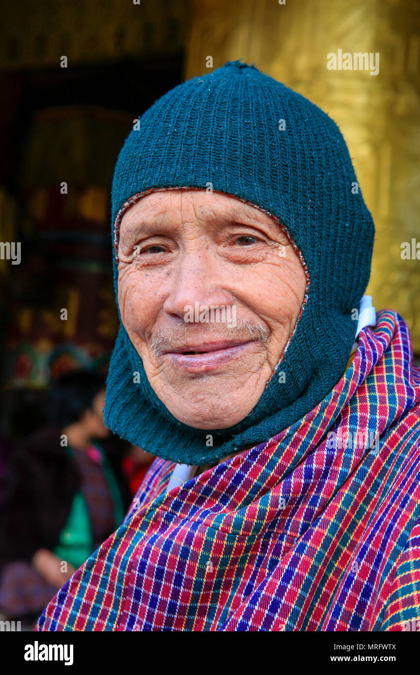 Portrait of a Bhutanese old man. Thimphu, Bhutan - Stock Image
