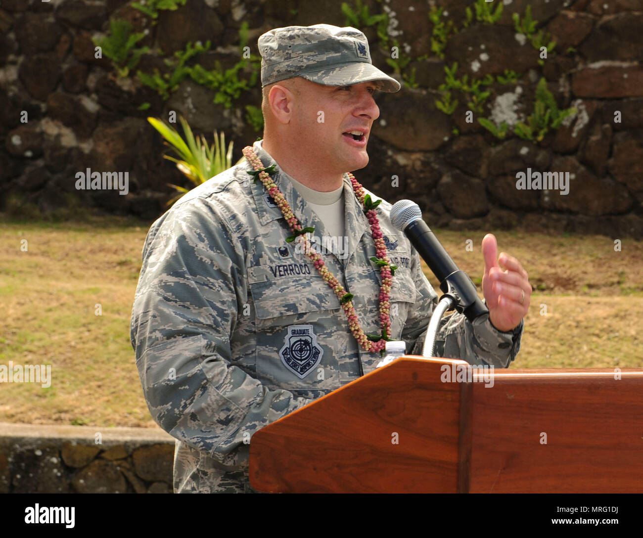 Lt. Col. Phillip Verroco, 21st Space Operations Squadron commander, gives opening comments during the Detachment 3 Change of Command Ceremony, Kaena Point, Hawaii, June 9, 2017.  Detachment 3 is a component of the 21st Space Operations Squadron, 50th Network Operations Group, 50th Space Wing, and is located on the western tip of Oahu.  It is the oldest and one of seven worldwide remote tracking stations in the Air Force Satellite Control Network.  (U.S. Air Force photo by Tech. Sgt. Heather Redman) - Stock Image