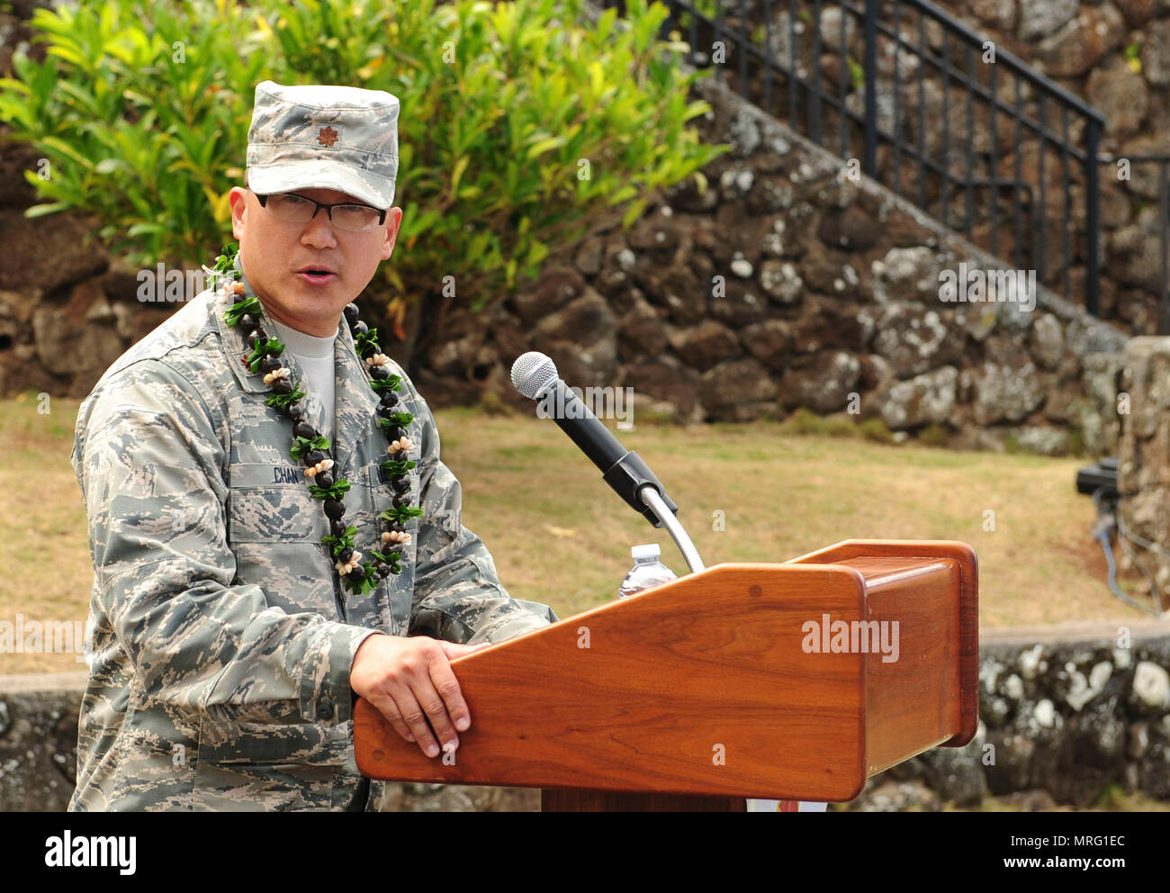 Maj. Edmond Chan, Detachment 3 commander, speaks to his unit during the Detachment 3 Change of Command Ceremony, Kaena Point, Hawaii, June 9, 2017.  Detachment 3 is a component of the 21st Space Operations Squadron, 50th Network Operations Group, 50th Space Wing, and is located on the western tip of Oahu.  It is the oldest and one of seven worldwide remote tracking stations in the Air Force Satellite Control Network.  (U.S. Air Force photo by Tech. Sgt. Heather Redman) - Stock Image
