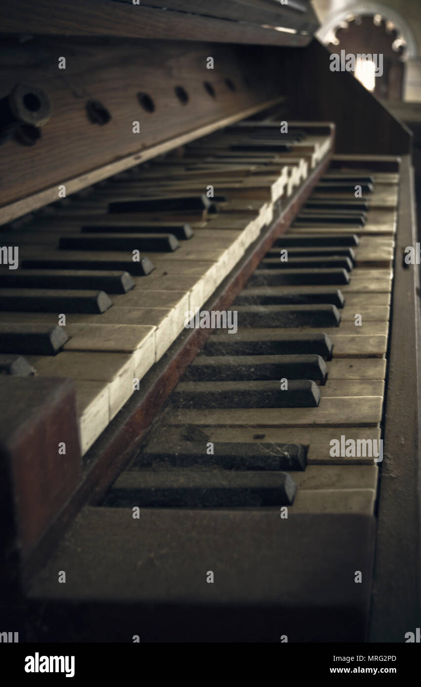 Double keyboard of nineteenth-century church organs, Stare Prażuchy, Poland. - Stock Image