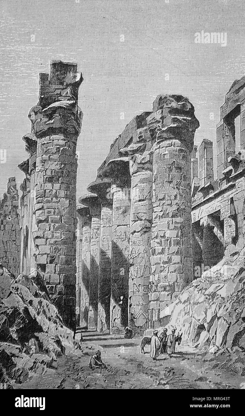 Karnak ruins, Egypt as they appeared in 1900 - Stock Image