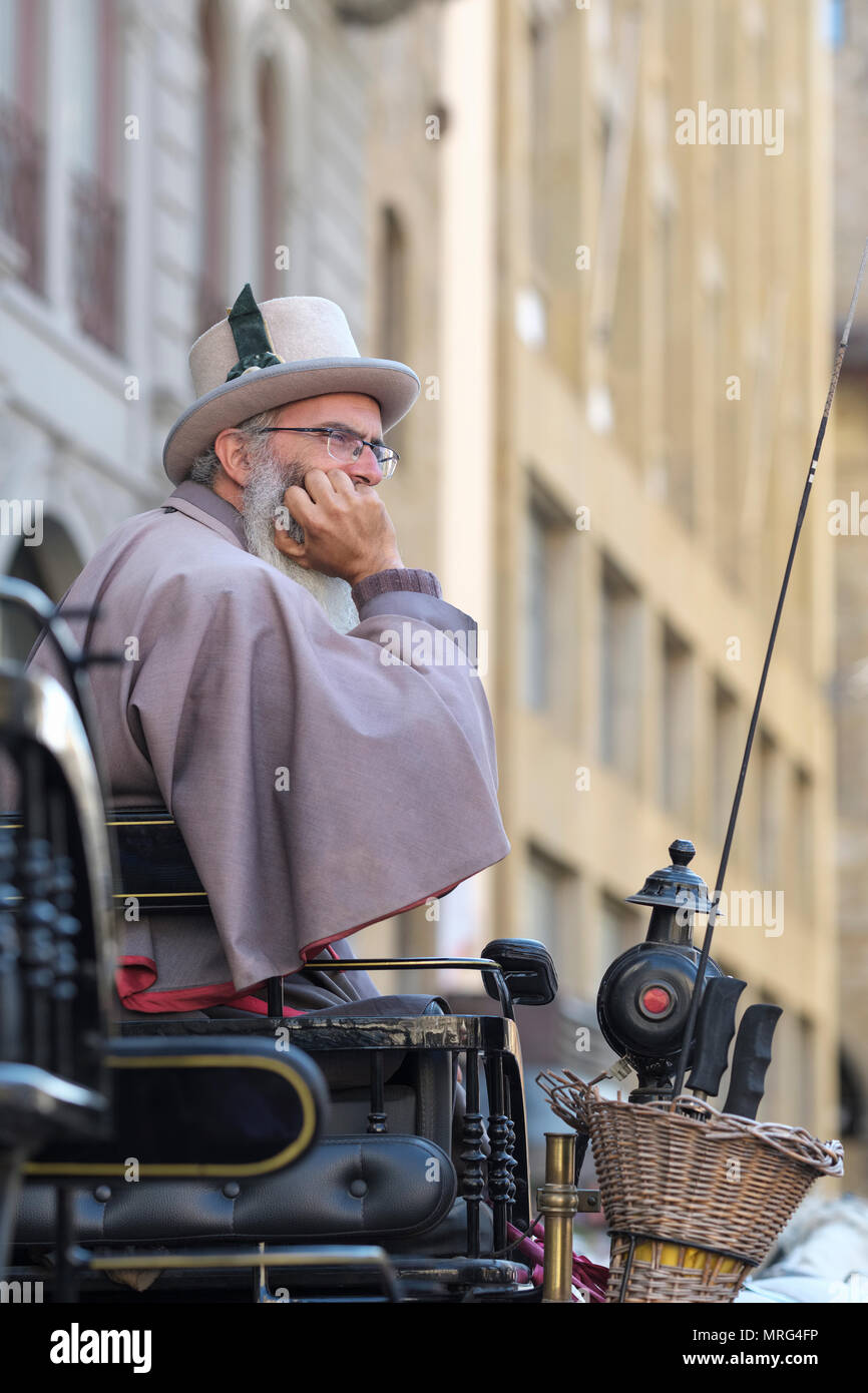 Coachman waiting for business, Florence, Tuscany, Italy, Europe, - Stock Image