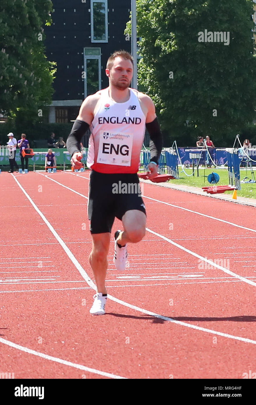 Loughborough, England, 20th, May, 2018.   Andy Robertson competing in the Men's 100 during the LIA Loughborough International Athletics annual meeting - Stock Image