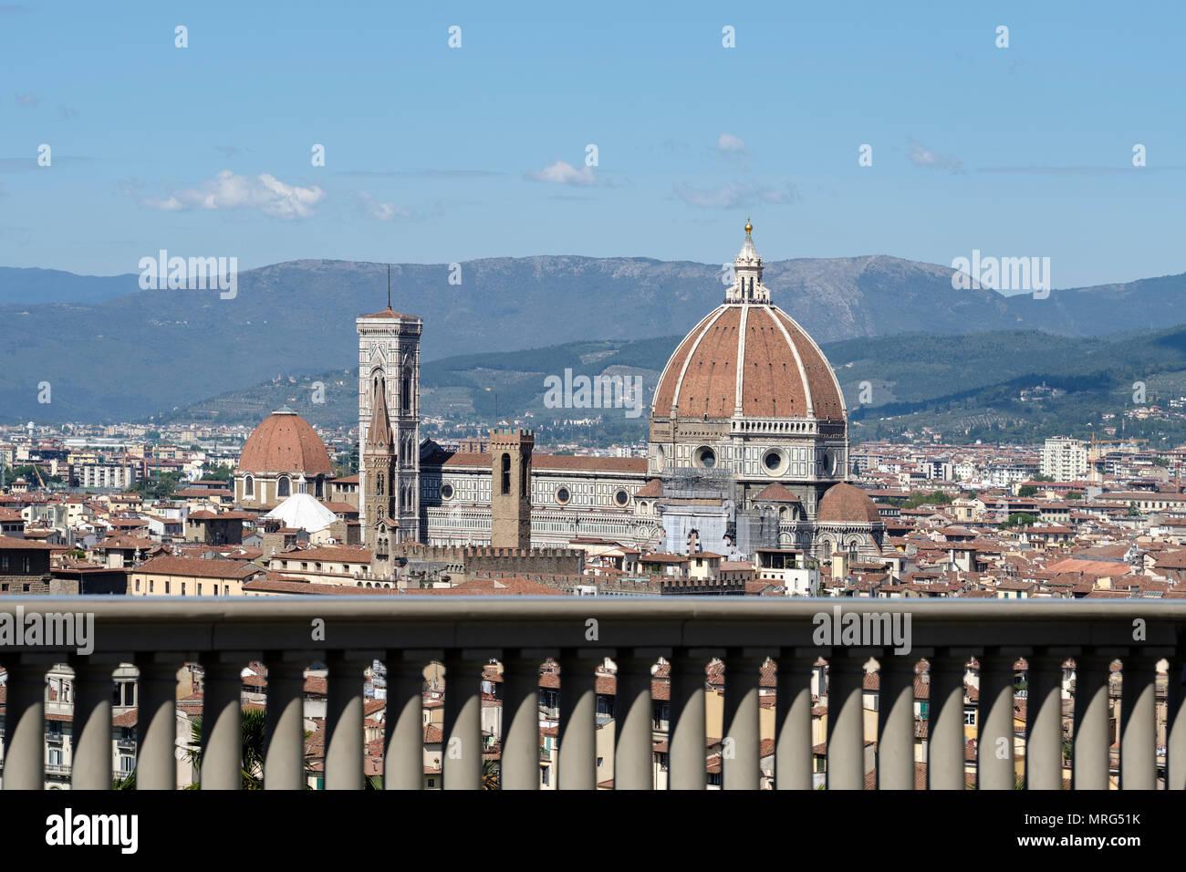 Florence cityscape showing the Cattedrale di Santa Maria del Fiore; Cupola del Brunelleachi; Campanile di Giotto; Florence; Tuscany; Italy; Europe; Stock Photo