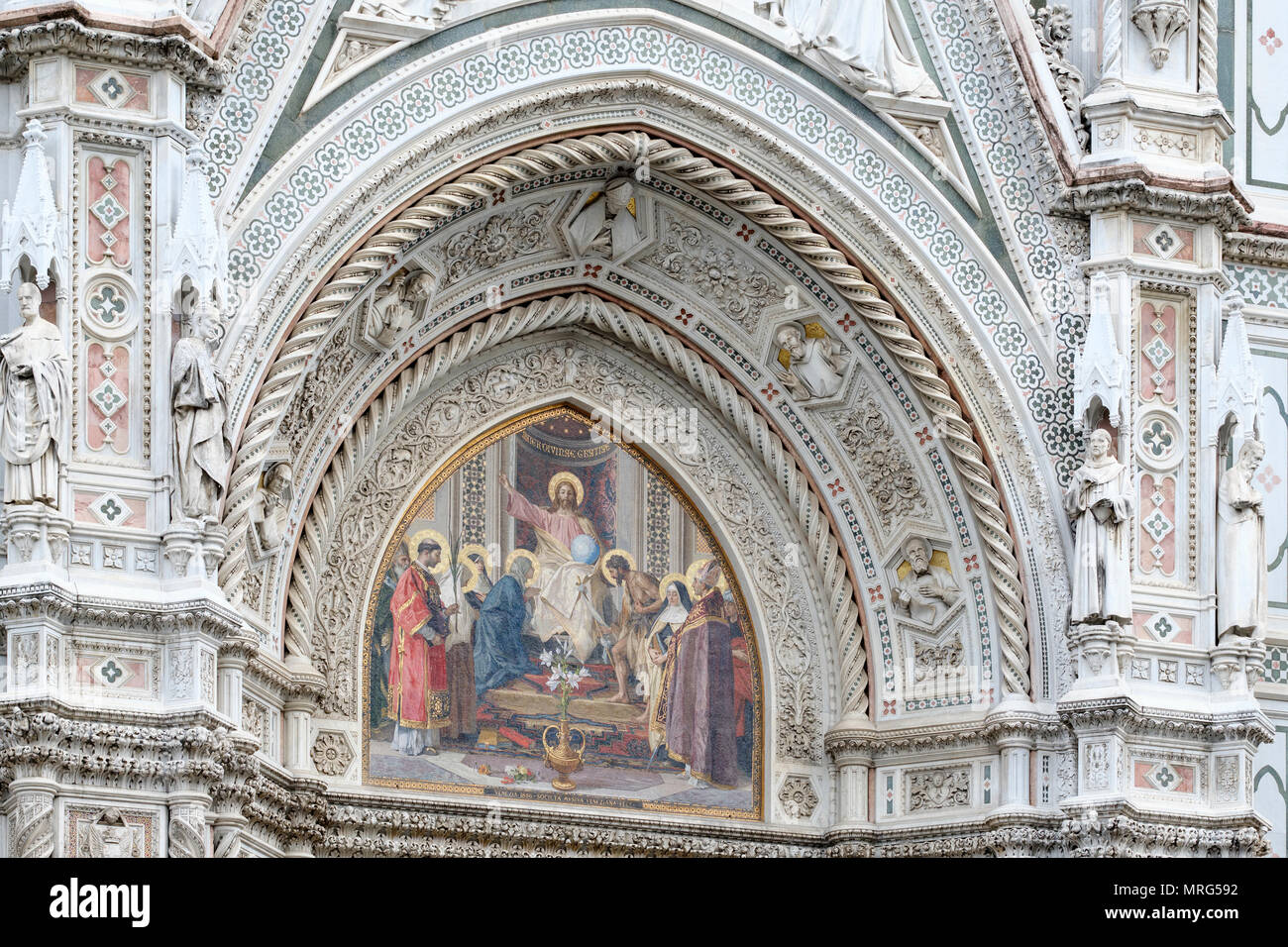 Mosaic of Jesus Christ above main entrance, Cattedrale di Santa Maria del Fiore, Cathedral of Saint Mary of the Flower, Florence, Tuscany, Italy, Euro - Stock Image