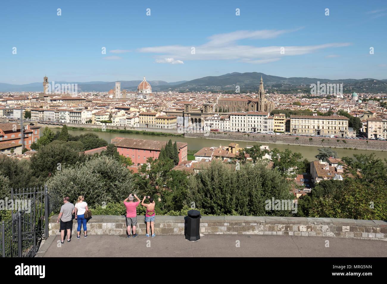 Florence cityscape showing the Cattedrale di Santa Maria del Fiore; Cupola del Brunelleachi; Campanile di Giotto; Palazzo Vecchio, Basilica di Santa C Stock Photo