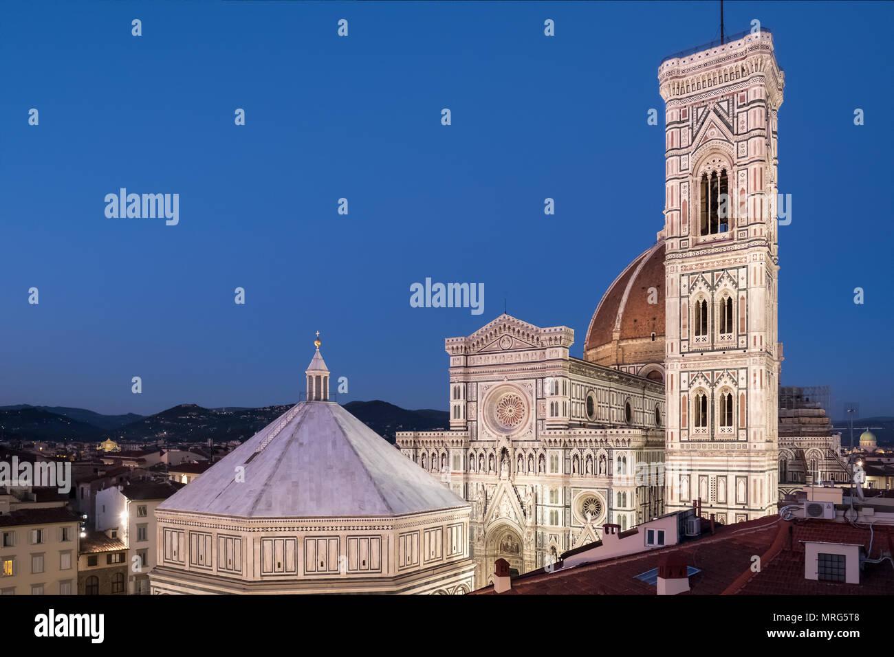 Battistero di San Giovanni, Cattedrale di Santa Maria del Fiore, Cupola del Brunelleachi, Campanile di Giotto, Florence, Tuscany, Italy, Europe, Stock Photo