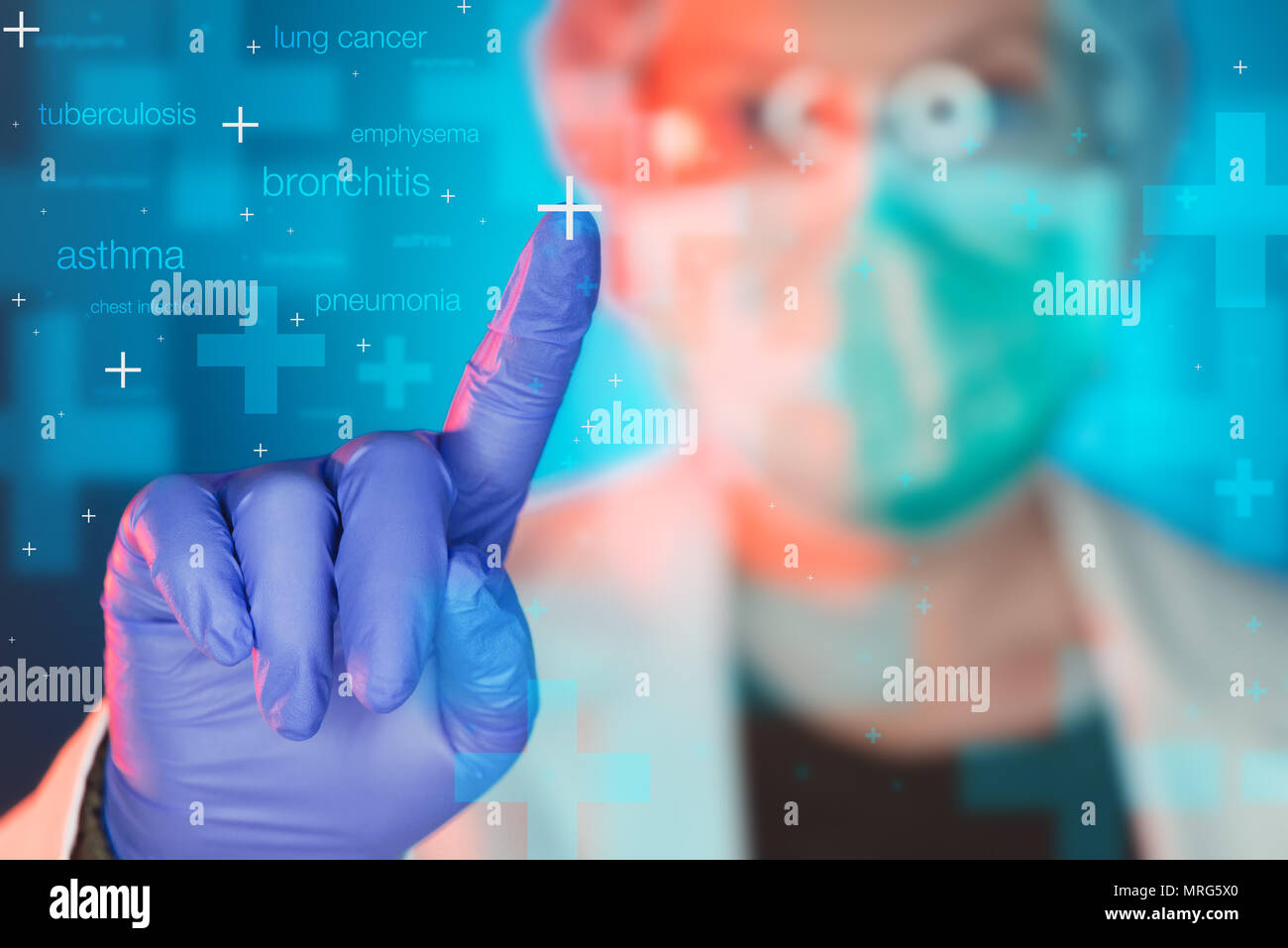 Pulmonologist healthcare professional in hospital clinic. Portrait of female medical specialist treating lung diseases such as asthma, bronchitis, pne - Stock Image