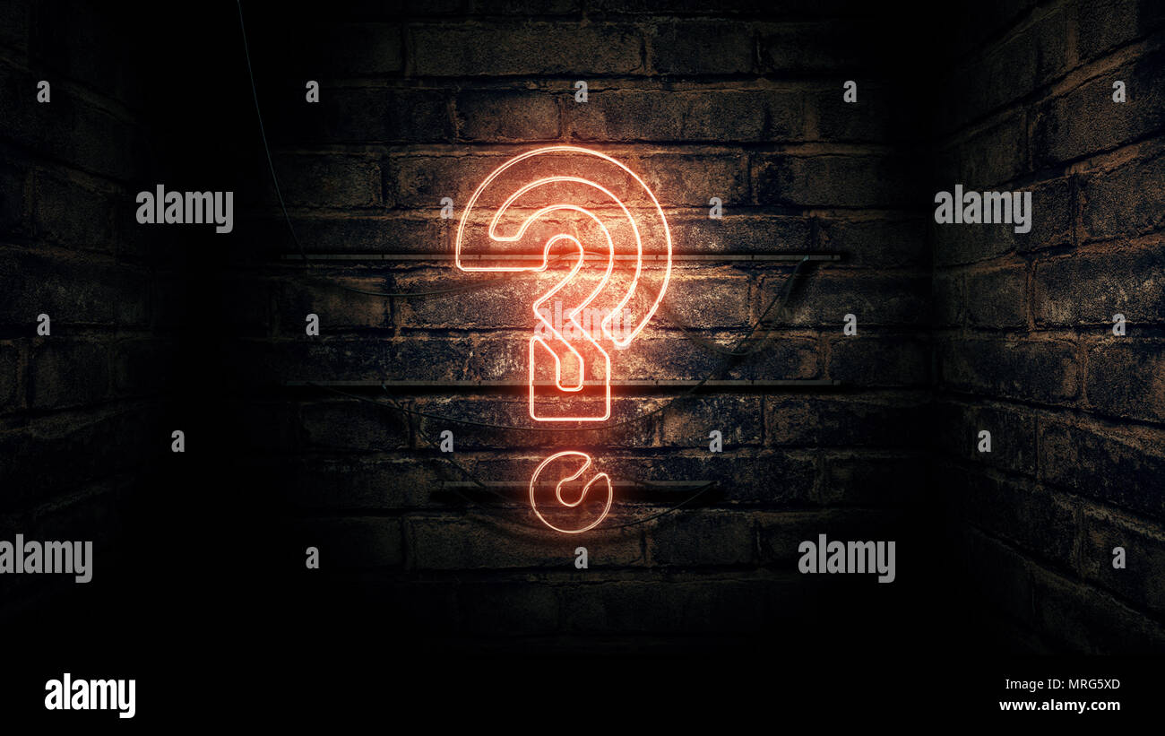Question mark neon sign on brick wall, conceptual 3d rendering illustration for test, exam and looking for answers perplexed situation. - Stock Image