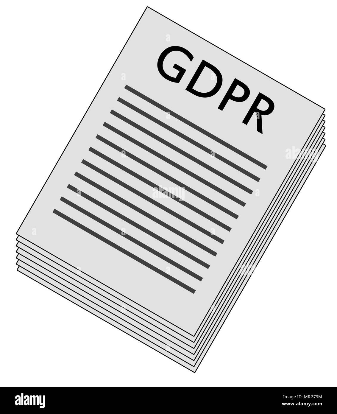 General Data Protection Regulation, paper stack illustration - Stock Image