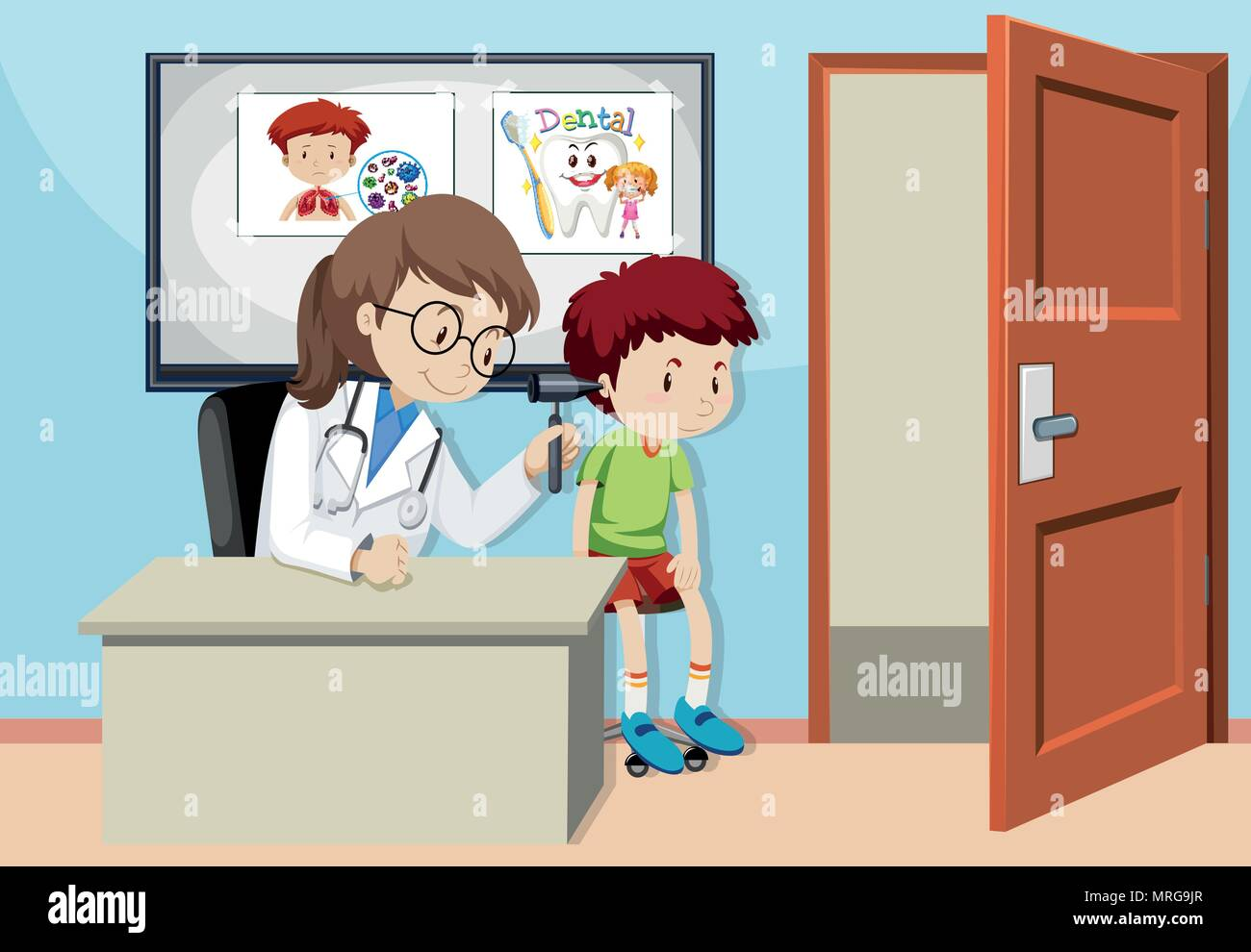 A Kids Checking Ear With Doctor illustration - Stock Image