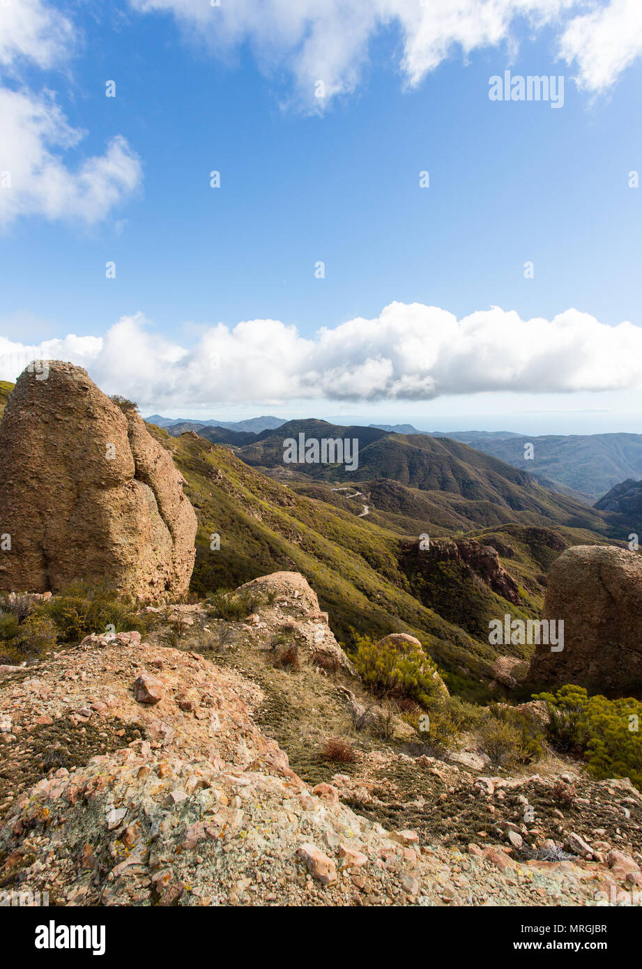A landscape view of the western end of the Santa Monica Mountains from the Backbone Trail. - Stock Image