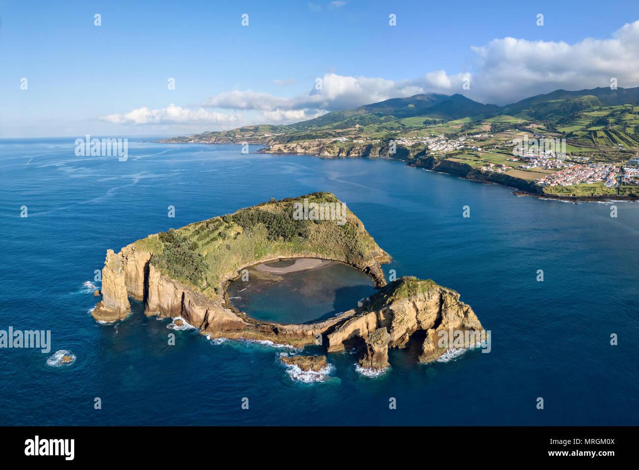 Islet of Vila Franca do Campo, Sao Miguel island, Azores, Portugal (aerial view) - Stock Image