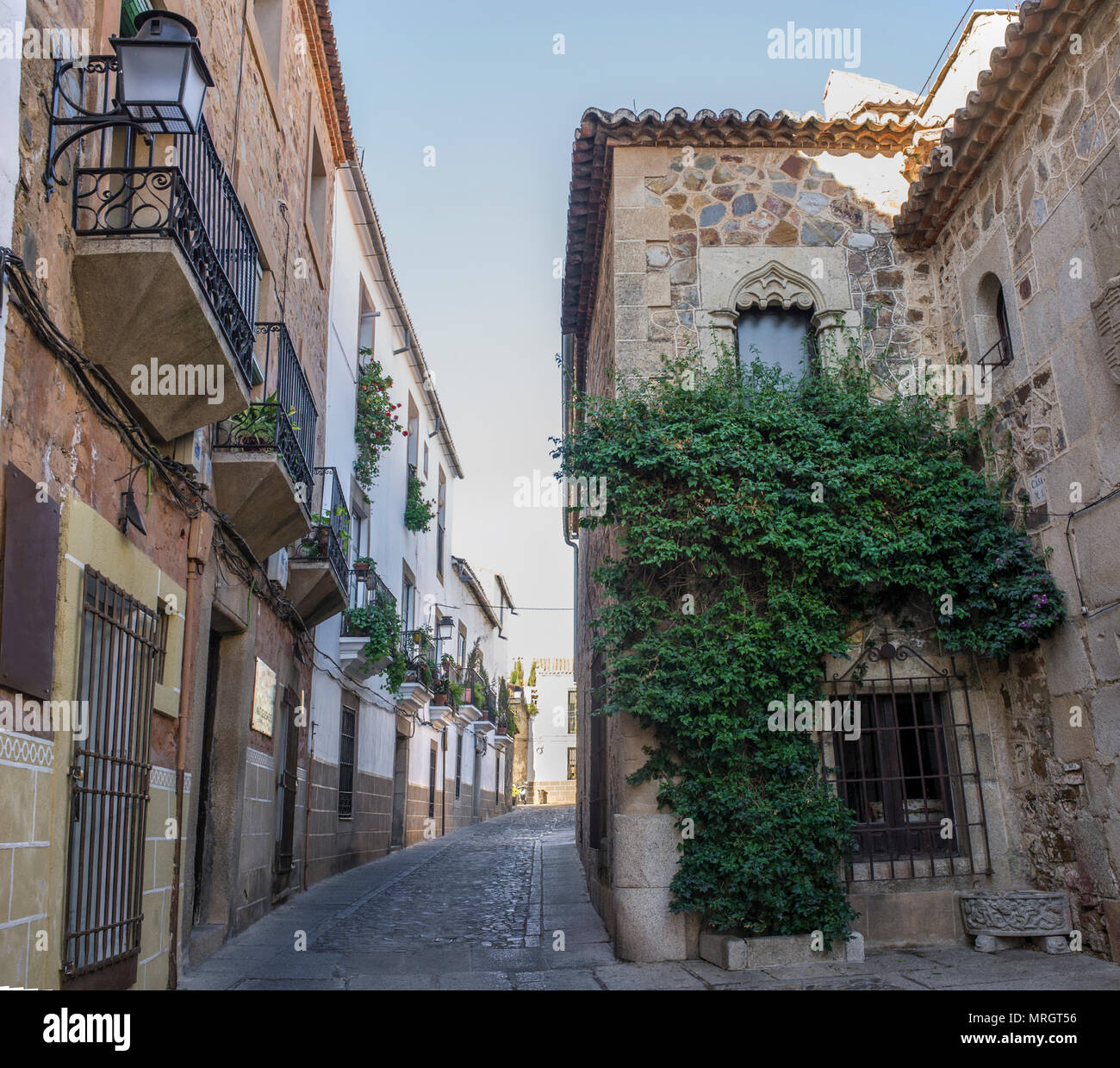 Hospital of Pilgrim Knights Gothic building Caceres historic quarter, Spain - Stock Image