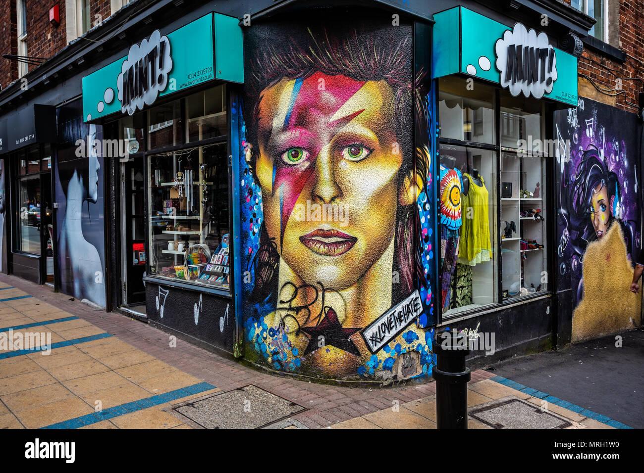 David bowie tribute mural in trafalgar street sheffield yorkshire uk taken on 18