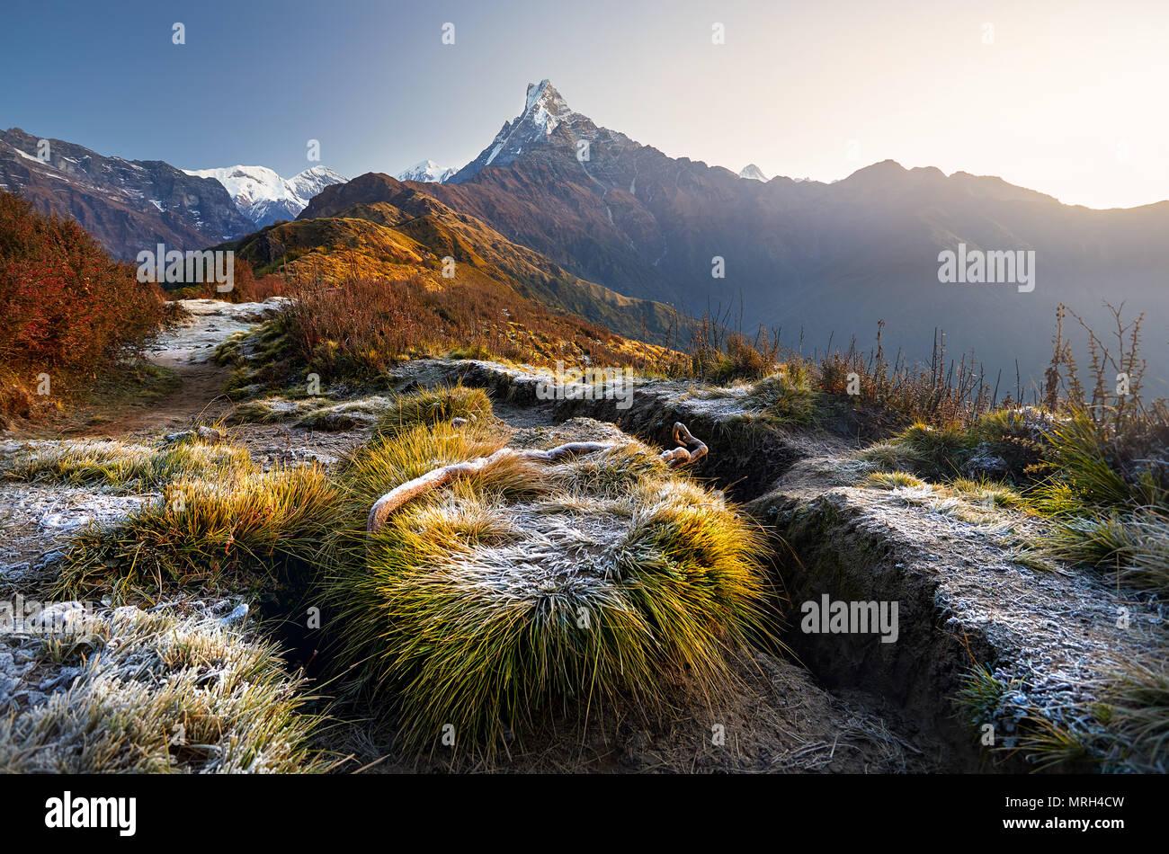Beautiful landscape of Himalaya Mountain Fishtail Machapuchare at Mardi Himal treck, Nepal - Stock Image