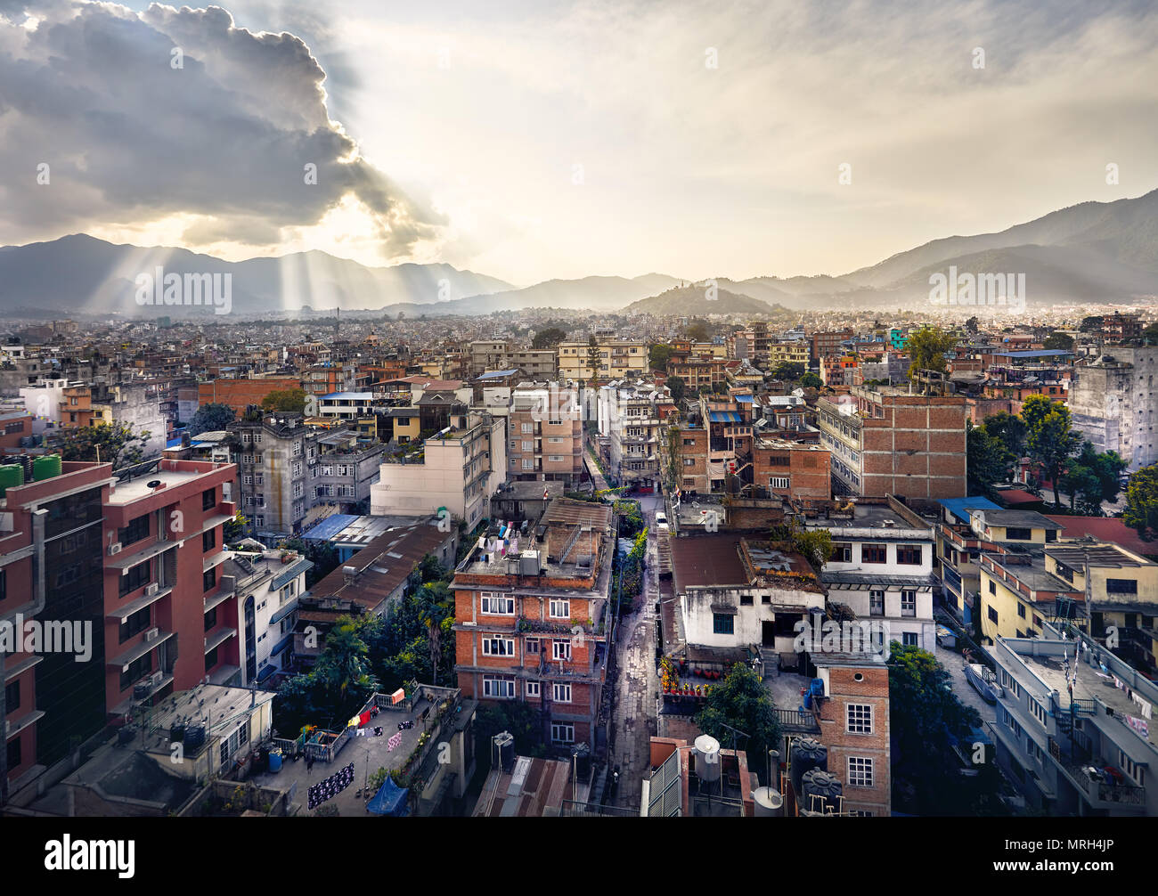 Beautiful view of Kathmandu the capital of Nepal from rooftop at sunset - Stock Image