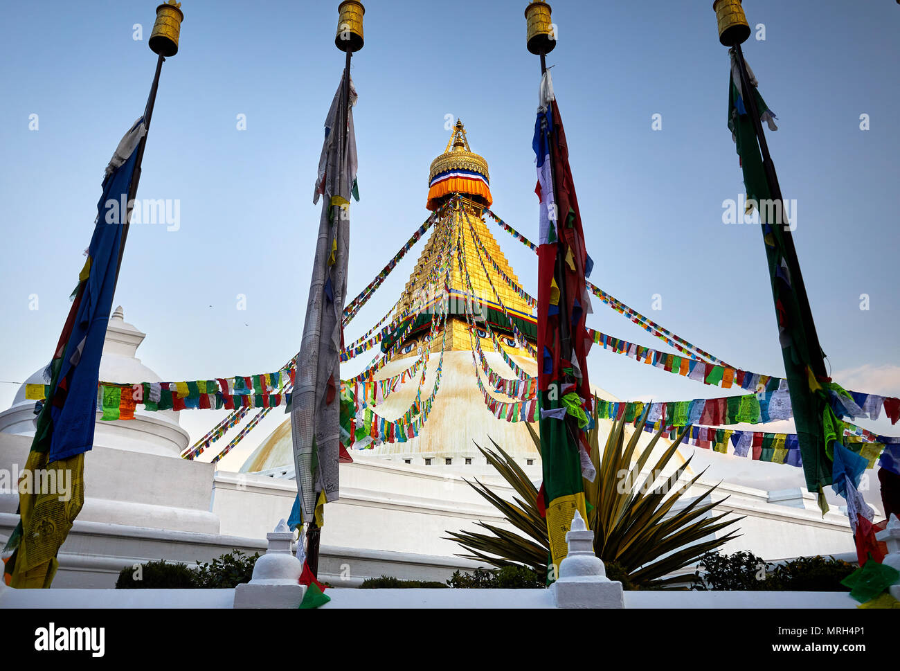 Bodnath Buddhist Stupa with prayer flags in Kathmandu - Stock Image