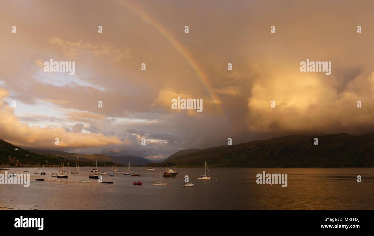 Rainbow over Ullapool - Stock Image