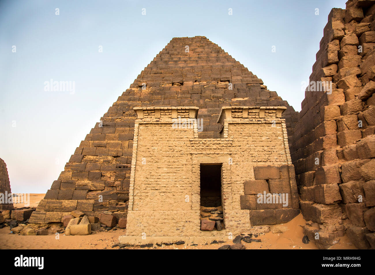 ancient Meroe pyramids in a desert in Sudan - Stock Image