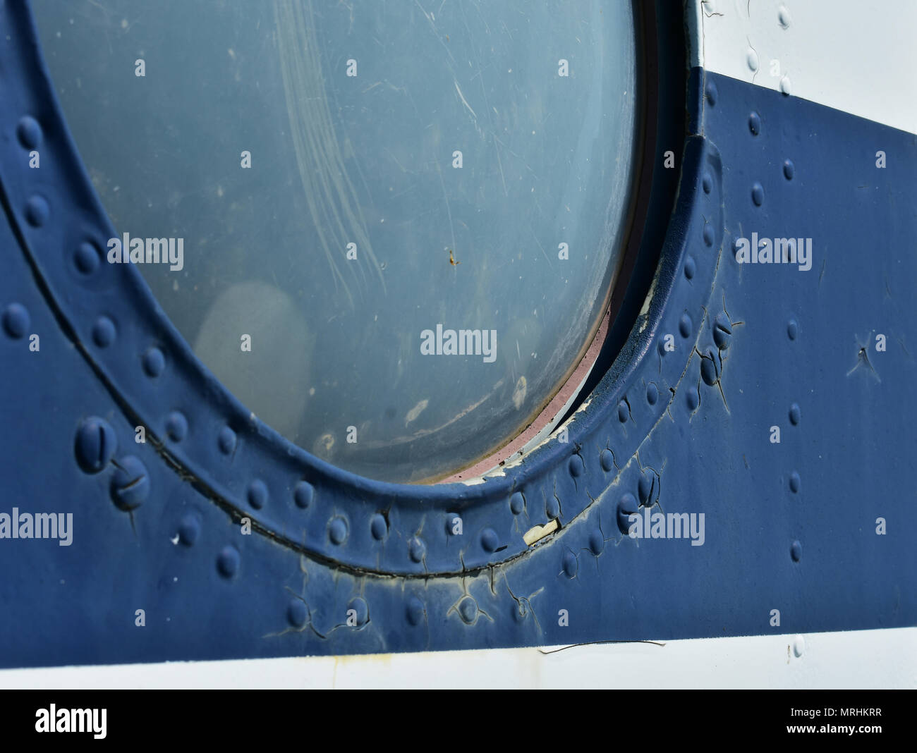 Old helicopter window - Stock Image