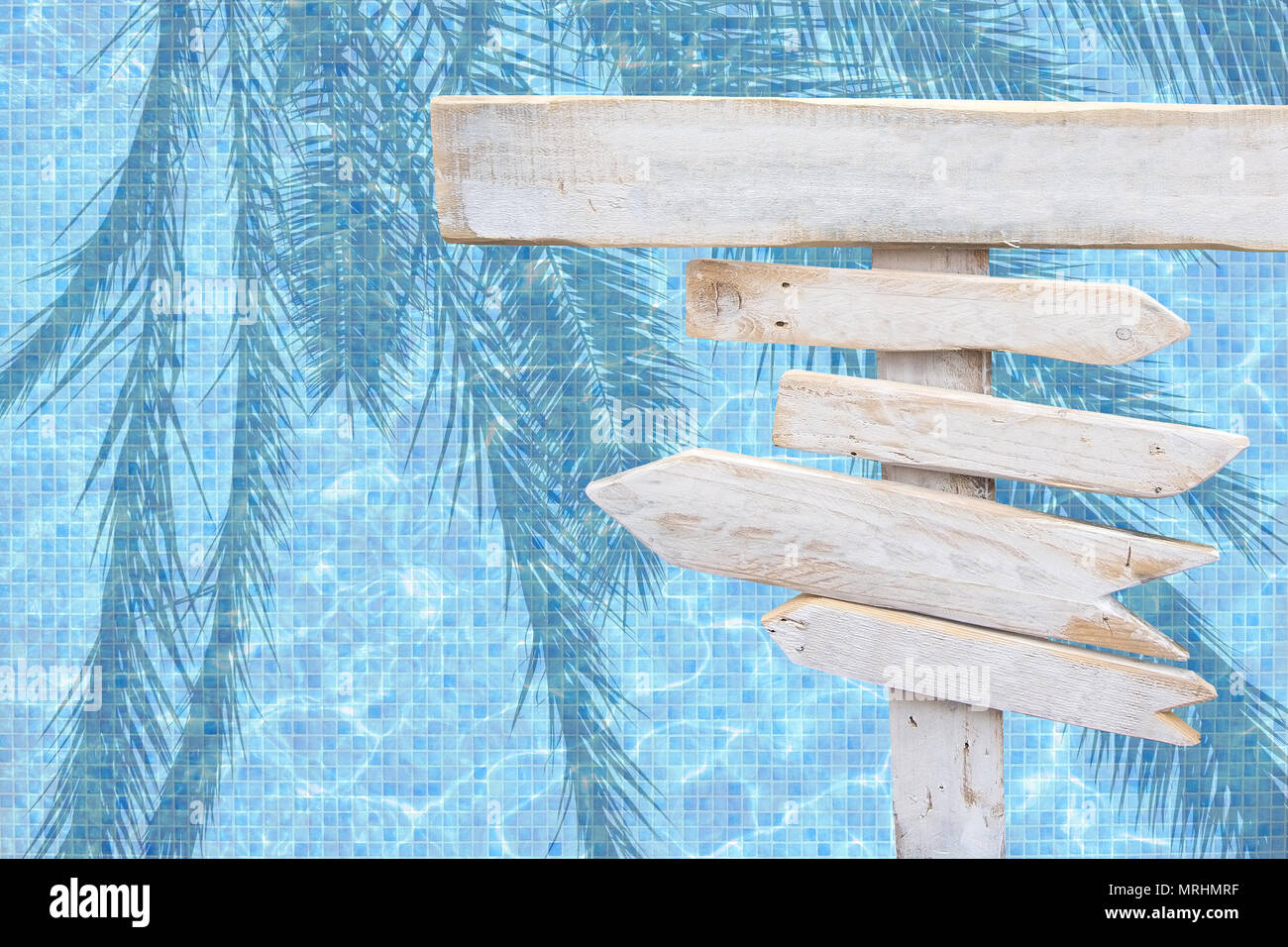 White Rustic Wood Arrow Signs Over Turquoise Blue Mosaic Pool Water Surface Summer Theme Travel Vacation Background