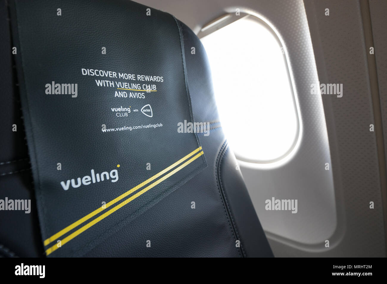 Vueling airbus interior armchair and window - Stock Image