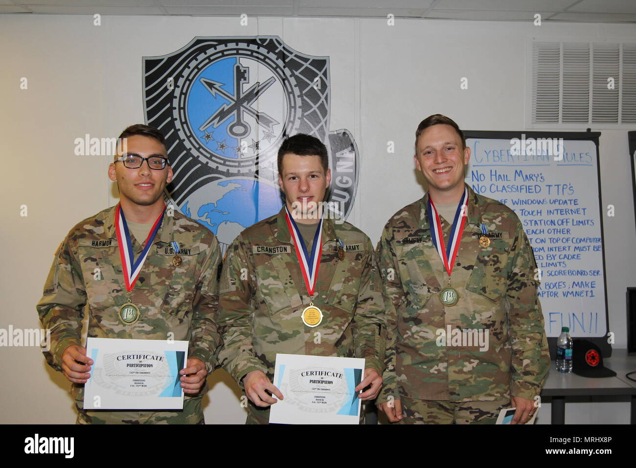 FORT GEORGE G. MEADE, Maryland – Team Unkindness, consisting of Spc. Elijah Harmon, Spc. Nicholas Cranston, and Pfc. Elijah Frederickson, of the 742nd Military Intelligence (MI) Battalion, 704th MI Brigade, won the 2017 CyberTitan Challenge II competition that took place here on June 16. Their team captain, Sgt. Brandon Bushnell (not pictured), left after the first phase when he was notified his wife was in labor. - Stock Image