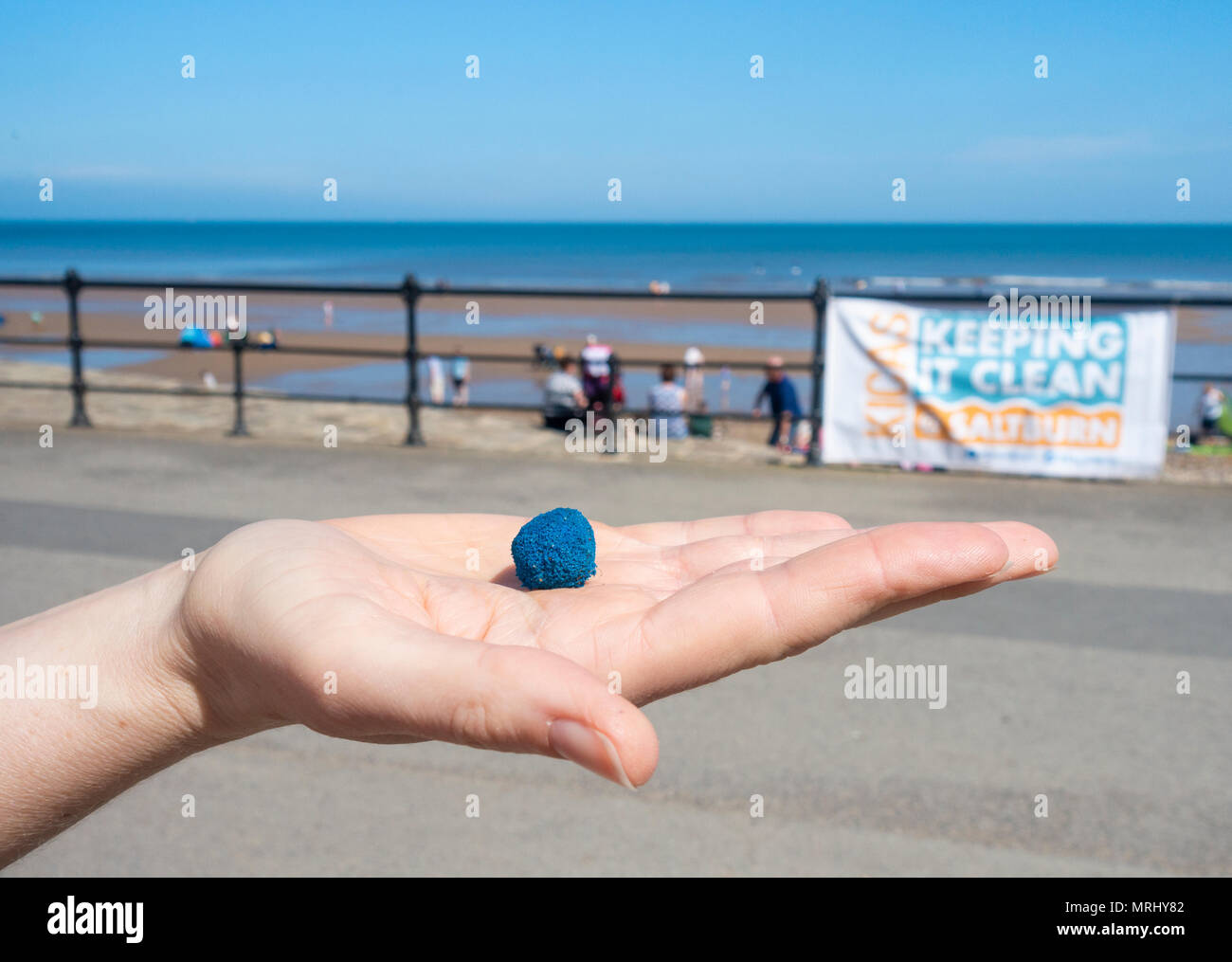 Taprogge Balls (used to clean power station cooling pipes) found on Saltburn beach on the North Yorkshire coast. England. UK - Stock Image