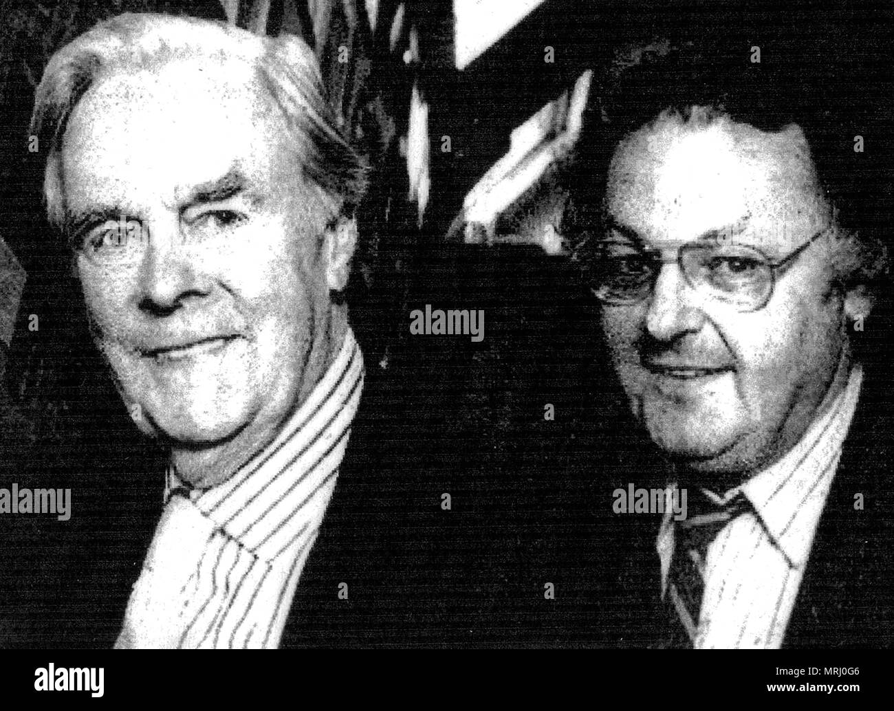 A 2002  photograph taken at the opening of the new Whitby Archive premises (N Yorkshire, UK) - Pictured is late film actor Ian Carmichael who opened the premises with the archives director and founder, author  Colin Waters - Stock Image