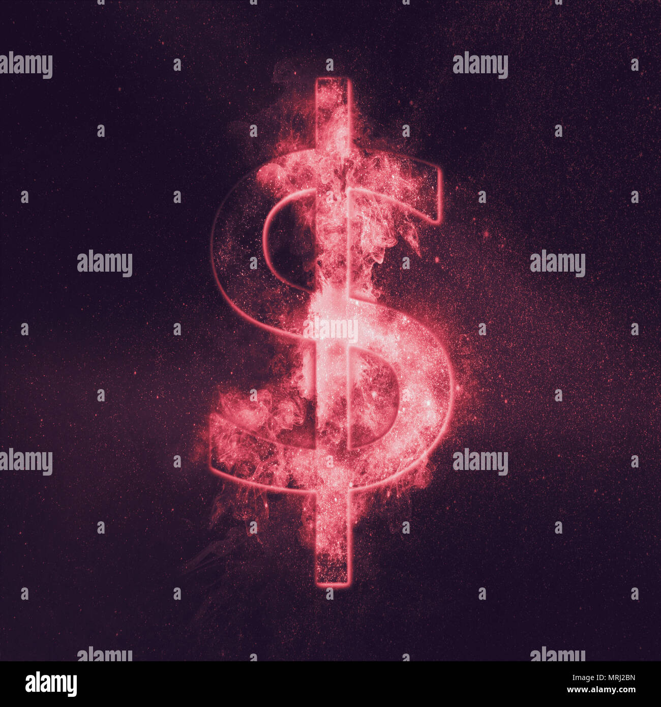 Dollar sign, Dollar Symbol. Monetary currency symbol. Abstract night sky background. - Stock Image