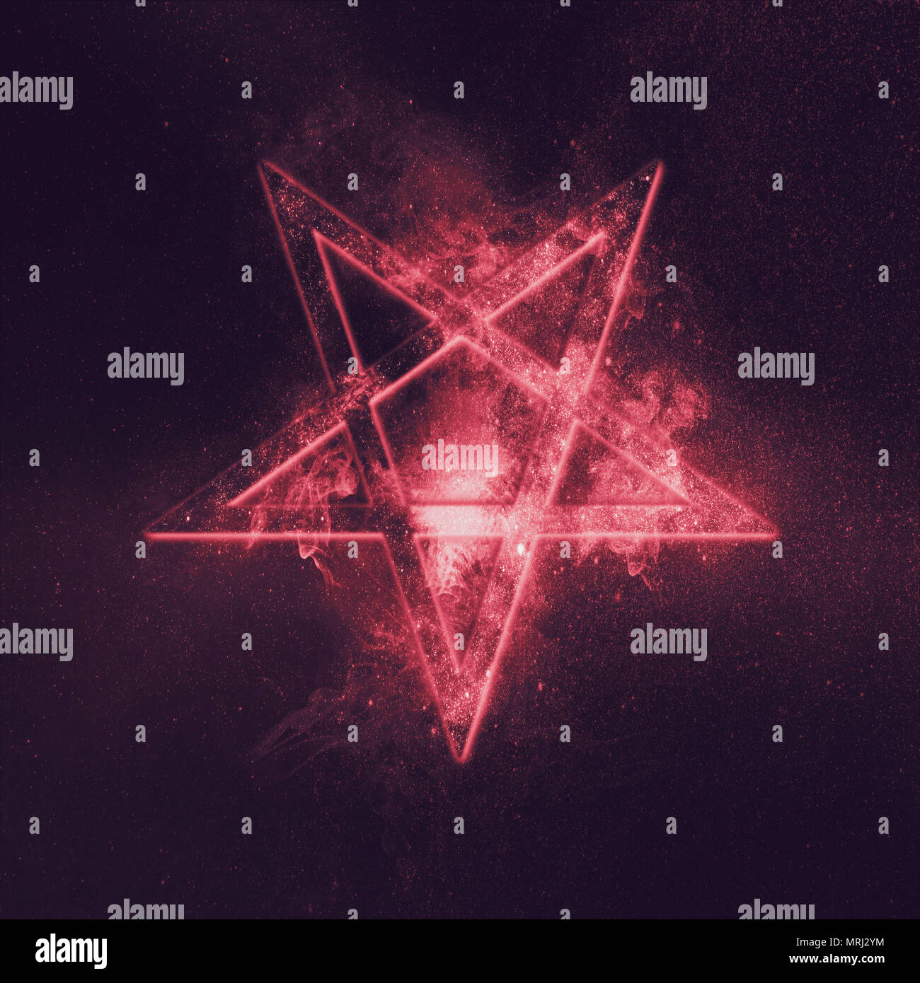 Reversed Pentagram symbol. Abstract night sky background. - Stock Image
