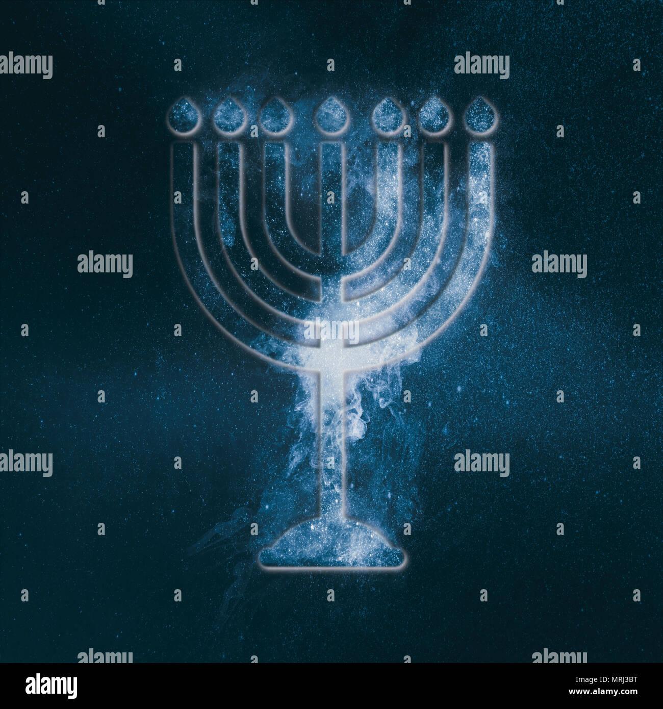 Hanukkah menorah symbol. Menorah symbol of Judaism. Abstract night sky background. - Stock Image
