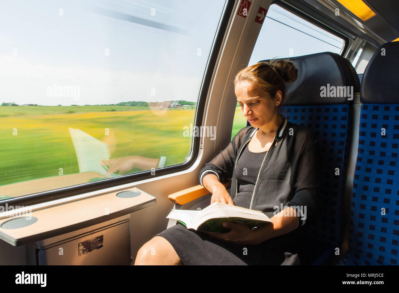 Young woman reading a book while travelling by train - Stock Image