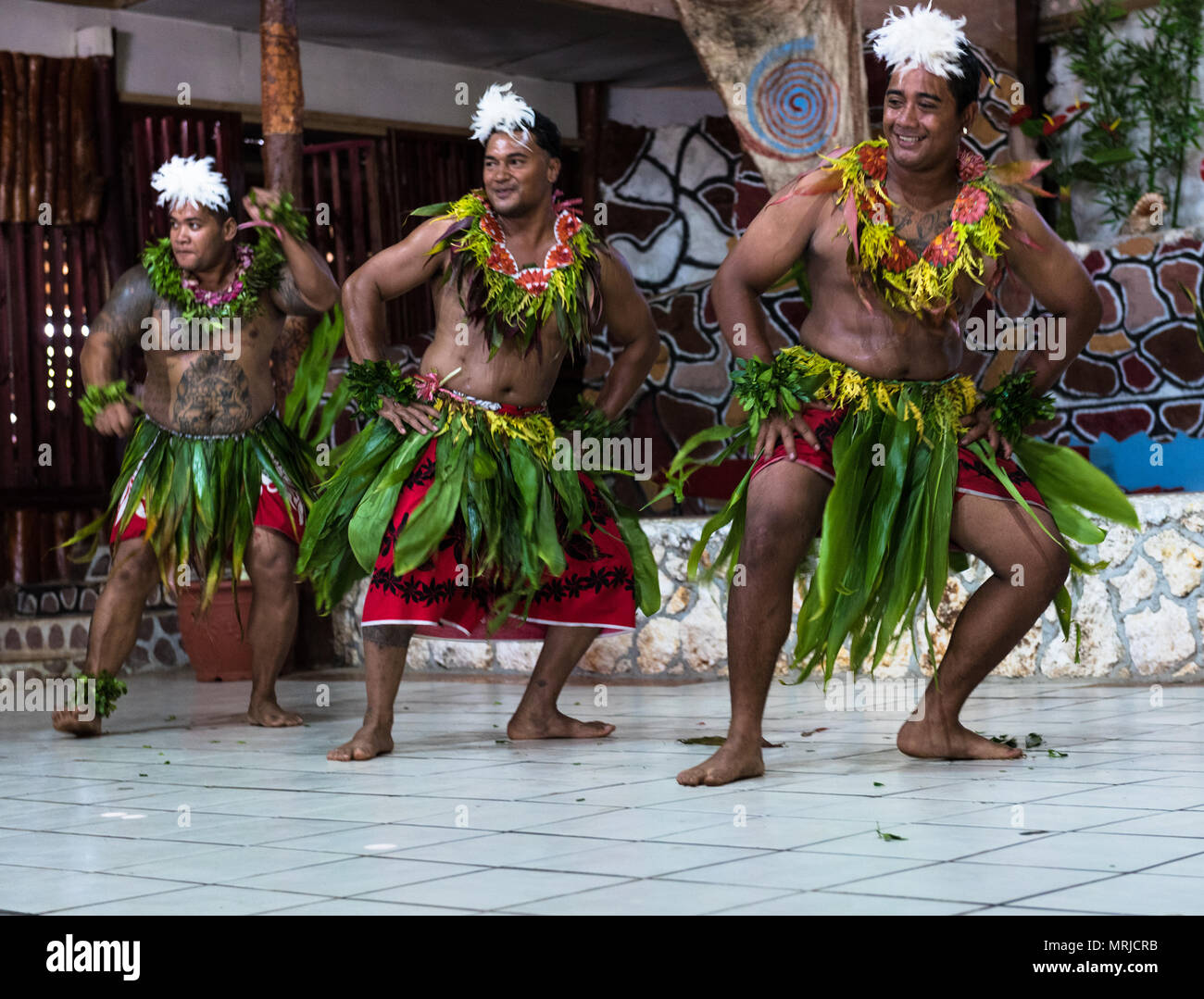 Nuku'Alofa, Tonga -- March 10, 2018. Dancers in native garb perform a traditional Tonganese dance. Editorial Use Only. - Stock Image
