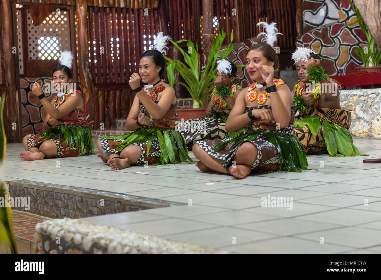 Tonga--March 10, 2018. Native dancers in customary garb perform a traditional dance. Editorial use only. - Stock Image
