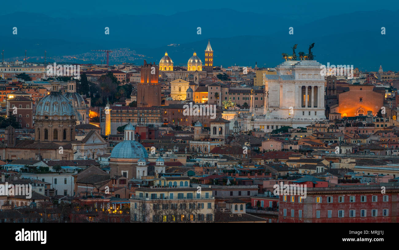 Rome Panorama At Sunset From The Gianicolo Hill Terrace